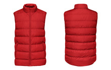 Blank Template Red Waistcoat Down Jacket Sleeveless With Zipped, Front And Back View Isolated On White Background. Mockup Winter Sport Vest For Your Design