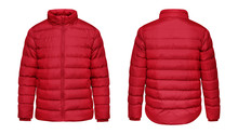 Blank Template Red Down Jacket...