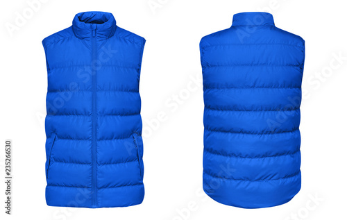 Fotografía Blank template blue waistcoat down jacket sleeveless with zipped, front and back view isolated on white background