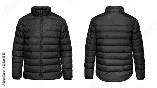 Blank template black down jacket with zipped, front and back view isolated on white background. Mockup winter sport jacket for your design