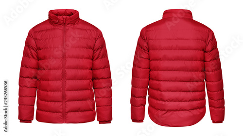 Poster Glisse hiver Blank template red down jacket with zipped, front and back view isolated on white background. Mockup winter sport jacket for your design