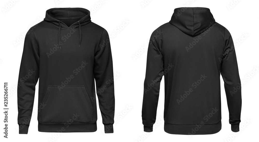 Fototapety, obrazy: Blank black male hoodie sweatshirt long sleeve with clipping path, mens hoody with hood for your design mockup for print, isolated on white background. Template sport winter clothes