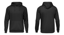 Blank Black Male Hoodie Sweatshirt Long Sleeve, Mens Hoody With Hood For Your Design Mockup For Print, Isolated On White Background. Template Sport Winter Clothes
