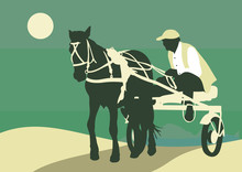 Sporting A Horse-drawn Cart. Silhouette Of An Athlete On The Cart Driving A Horse.