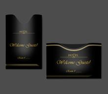 Black Hotel Key Card Holder Set - Horizontal And Vertical Envelope