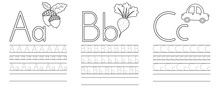 Writing Practice Of Letters A,B,C. Coloring Book. Education For Children. Vector Illustration