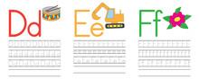 Writing Practice Of Letters D,E,F. Education For Children. Vector Illustration