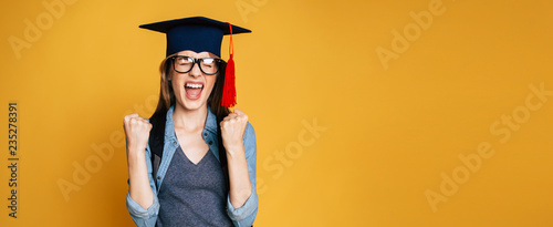 Tablou Canvas Study, education, university, college, graduate concept on banner
