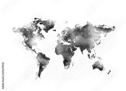 Spoed Fotobehang Wereldkaart World map ink watercolour painting isolated on white background