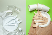 Eco-friendly Disposable Tableware Made Of Bamboo Wood And Paper On A Green Background. Plastic Harmful Dishes And Cutlery.
