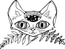 Black White Pattern Of A Funny Cat With Space In The Head And Fern Leaves.