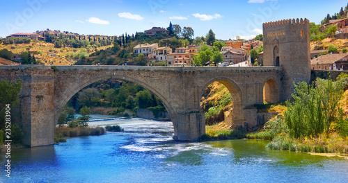 Tajo river in toledo city bridge of Spain