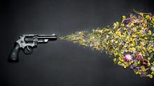 Gun Shooting Flowers On A Blac...