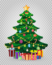 Cute Cartoon Decorated Christmas Fir Tree With Gifts And Presents.