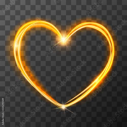 Obraz Neon blurry love symbol, golden magic light trail effect at motion. Luminous rays in heart shape on transparent background - fototapety do salonu