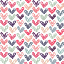 Seamless Vector Pattern With Doodle Hearts. Great For Can Be Fabric, Textile, Wallpaper, Web Page Background, Scrapbooking, Wrapping Paper.