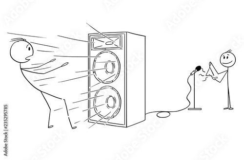 Papel de parede Cartoon stick drawing conceptual illustration of man blow away by loud and powerful sound from amplifier created by small boy or child playing on triangle