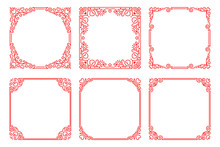 Vector Set Of Red Square Frames  In Linear  Art Deco Style
