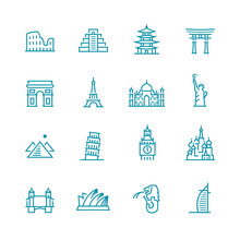 Landmarks And Monuments Icon Set