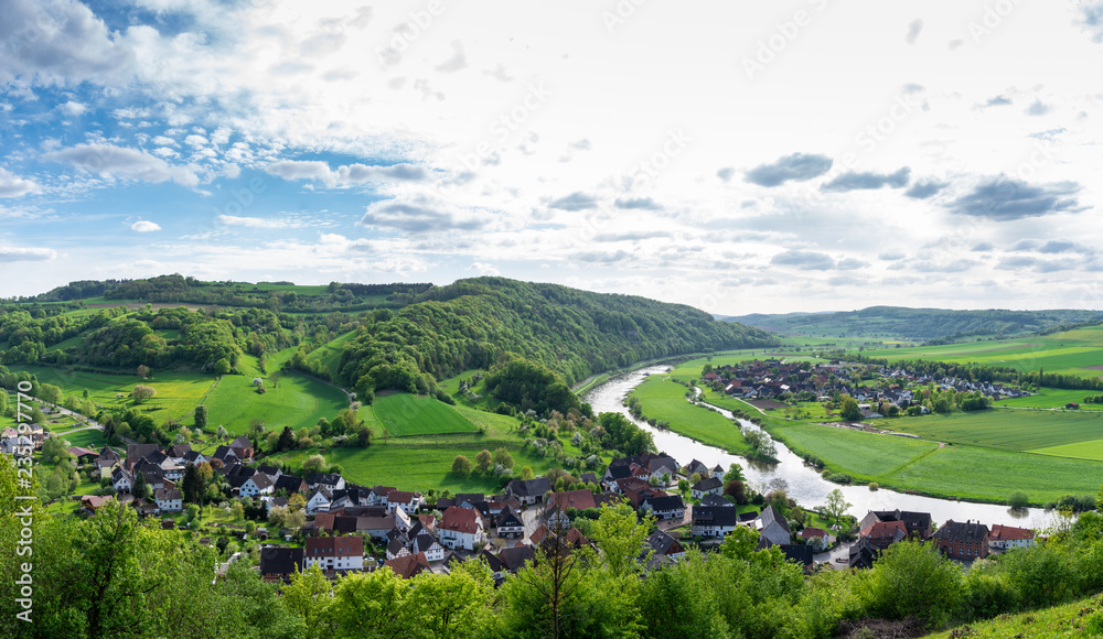 Fototapety, obrazy: The  landscape and river Weser in a village Ruehle , Germany