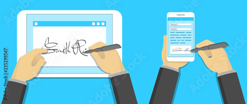 Digital signature concept, signing on tablet pc and smartphone Fotobehang