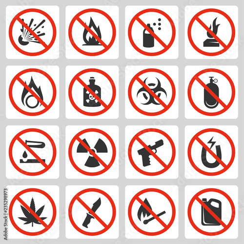Fotomural  Signs of prohibited luggage items in airport, vector icon set