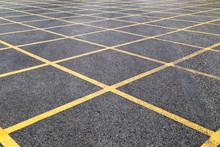 No Parking Yellow Cross Line No Parking Yellow Cross Line On Asphalt Road