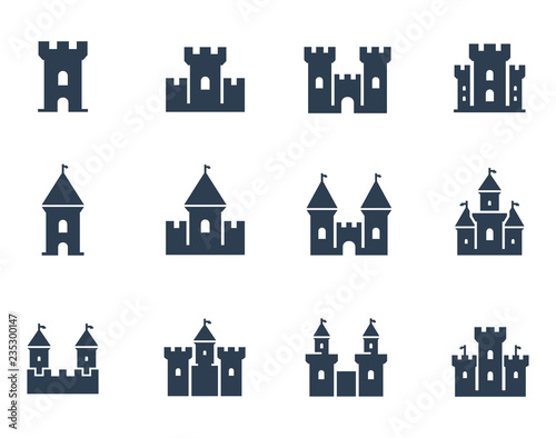 Obraz na płótnie Vector medieval castles icon set