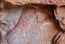 Ancient Bushmen Cave Paintings Found In The Cockscomb Mountains In Eastern Cape, South Africa. Human History Concept Image.