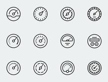 Meter Icon Set In Thin Line Style. Symbols Of Speedometers, Manometers, Tachometers Etc.
