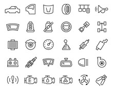 Car Parts Vector Icon Set In T...