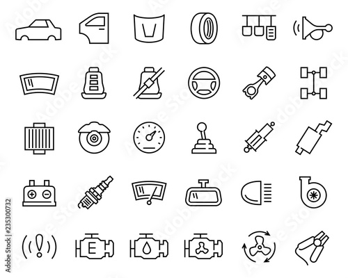Car Parts Vector Icon Set In Thin Line Style Buy This Stock Vector