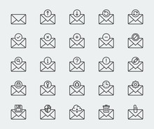 Email Vector Icon Set In Thin Line Style