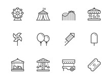 Theme Amusement Park Icon Set In Thin Line Style