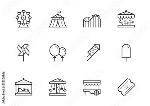 Slika na platnu Theme amusement park icon set in thin line style