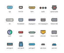 Computer Ports Vector Icon Set