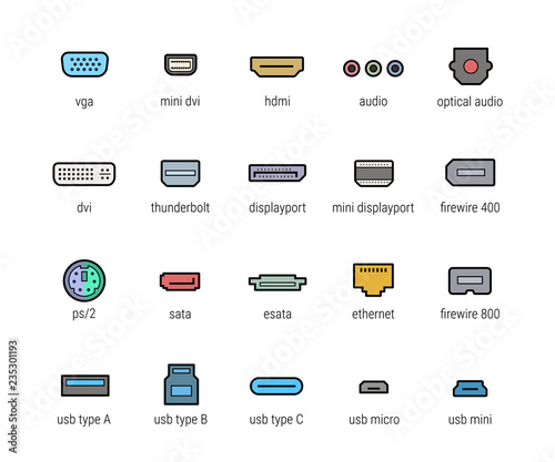 Photo  Computer ports vector icon set