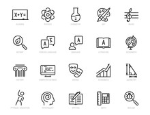 School Subjects Vector Icon Set In Thin Line Style