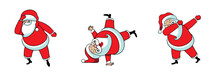 Set Of Dancing Santas. Cartoon...