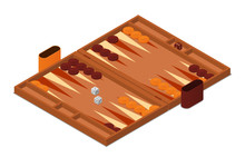 Backgammon Game Vector Isometric Illustration