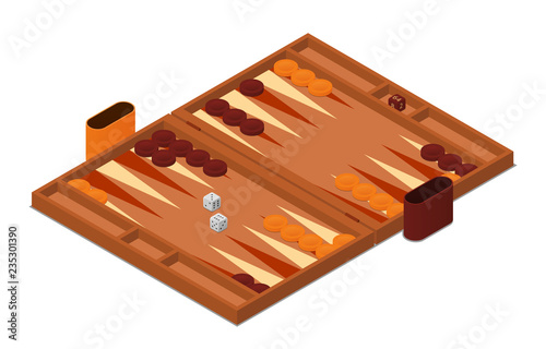 Fotografija Backgammon game vector isometric illustration