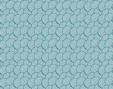 Spiral Circles Resembling Waves Seamless Pattern, Blue Lines Over White Background