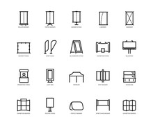 Types Of Advertising Banners Vector Icon Set In Outline Style