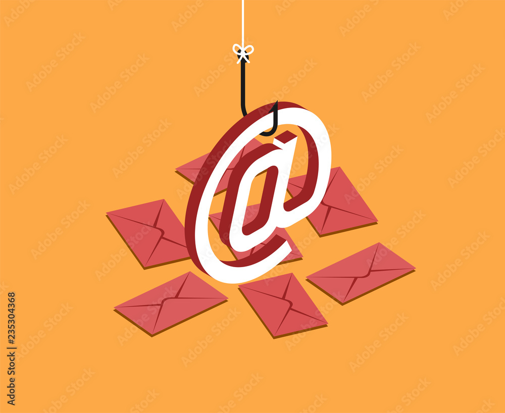 Fototapeta E-mail symbol on fishing hook over yellow background and envelopes. Scam, spam and phishing concept. Vector isometric illustration