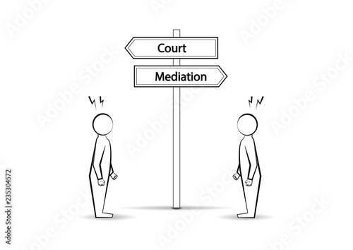 Two angree men and  waymark court mediation isolated on white background, horizo Canvas Print