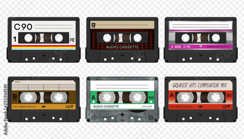 Cuadros en Lienzo Vector compact audio cassettes collection #2