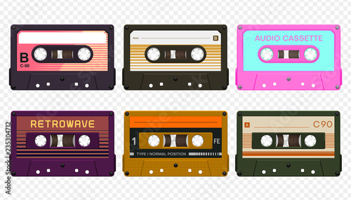 Fototapeta Vector compact audio cassettes collection #3