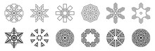 Snowflakes Set. Isolated On White Background. Flat Snow Icons, Silhouette. Geometric Design Elements For Christmas Decoration. Crystal, Ice  Elements. Vector Monochrome Illustration.