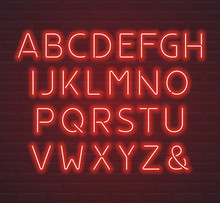 Red Neon Font, Letters And Amp...