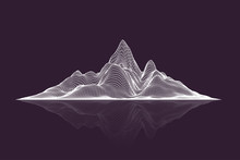 Abstract Vector Wireframe Mesh Mountains With Reflection, Front View